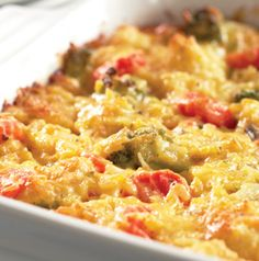Cheesy Vegetables and Rice is a super easy side dish for holidays - and every day. Goes well with ham and roast chicken or turkey. Perfect for potlucks!