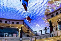 Das Schloss - The Das Schloss mall in Berlin, Germany uses a projector to enable consumers to shop underwater. The mall is home to Europe's largest ceiling. Projection Installation, Projection Mapping, Shopping Center, In The Heart, Under The Sea, Worlds Largest, Underwater, Mall, Europe