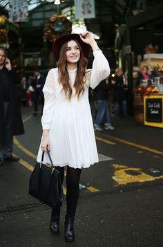 (Hat: River Island, Dress: C/O Free People, Bag: Lulu Guinness, Shoes: Office, Watch: C/O Kate...