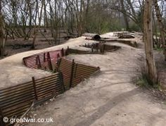 One of the very few sites where original trenches dating from 1914-1918 have been preserved at the Hill 62 Sanctuary Wood museum, Ypres Salient, Belgium