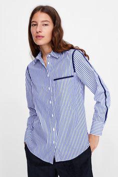 Fashion Capsule, Stylish Shirts, Blouse Online, Jacket Style, Shirt Blouses, Blouses For Women, Zara, Shirt Dress, Model