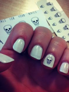These Skull Decals by Chelsea Dolls are perfect for a halloween-inspired nail art look.