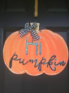 Fall Halloween, Halloween Crafts, Pumpkin Door Hanger, Autumn Home, Gourds, Door Hangers, Cricut Ideas, Fall Decor, Craft Supplies