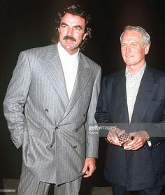 Actors Tom Selleck (left) and Paul Newman during a benefit in honour of George Schlatter at the Scott Newman Center, USA, November 1992.