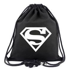2017 New Super Man Canvas Drawstring BagsFor Travel Superman Backpacks For Teenagers Boy Girls Schoolbags Super Hero Fans Bags Superman Backpack, Wonder Woman Quotes, Superhero Superman, Lightweight Backpack, Pencil Bags, School Bags, Leather Shoulder Bag, Drawstring Backpack, Yoga