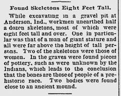 8 Foot Nephilim Giants Discovered Near Mounds State Park in Anderson, Indiana