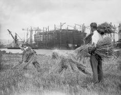 Site of the John Brown Shipyard, Clydebank - now and then.