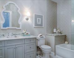 Bathroom Ideas. Bathroom Design. Gray Bathroom with gray custom vanity and gray subway tiles. #Bathroom #GrayBathroom #BathroomDesign