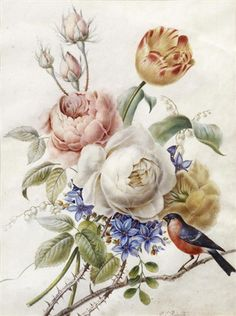 A posy of roses, tulips and lily of the valley with a bullfinch perched on a branch by Pierre Joseph Redouté