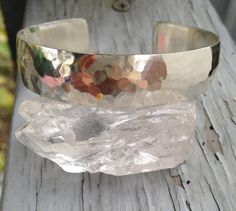 Hammered solid sterling silver cuff bracelet by MyopicVoid on Etsy