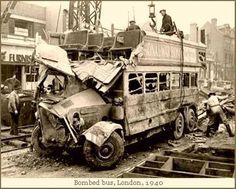London bus, damaged during an air raid, 1940