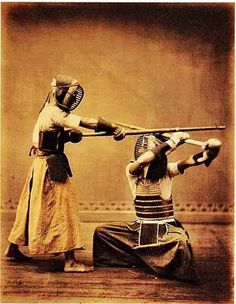 Object of the Day - Kendo Match: Photographic Print, albumen print with colors applied by hand. This photo from the Meiji Period (late or early century) was originally from Yokohama, Japan and is by Kusakabe Kimbei Kendo, Aikido, Muay Thai, Kung Fu, Geisha, Karate, Vintage Japanese, Japanese Art, Photo Japon