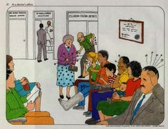 """A1 - Estamos en una clínica: ¿qué les duele a estas personas? Por ejemplo: """"Al hombre del traje gris le duele la cabeza""""."""