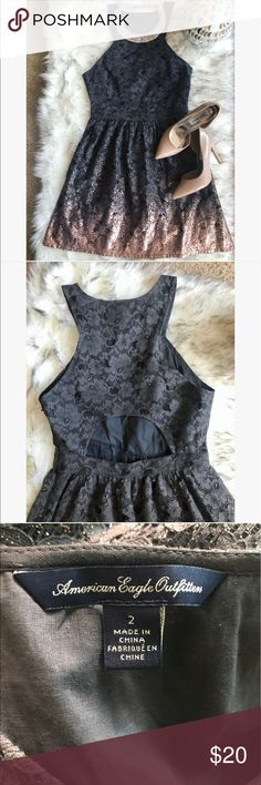 Cute AE dress   very cute American Eagle dress with open back and shiny rose gold on the bottom  size 2 color gray  American Eagle Outfitters Dresses Midi
