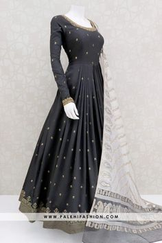 Bold & Beautiful Black Soft Silk Elegant Outfit With Attractive Dupatta - Black soft silk indian outfit from palkhi fashion featuring petite stone,cutdana,threads & embossed butta work.beige art silk dupatta with weaving designs. Beautiful Pakistani Dresses, Pakistani Dresses Casual, Indian Gowns Dresses, Indian Fashion Dresses, Pakistani Dress Design, Indian Designer Outfits, Pakistani Bridal, Designer Anarkali Dresses, Designer Party Wear Dresses