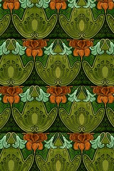 Recreation of vintage Art Nouveau Tile Motifs. This is another tile in my Art Nouveau tile collection - only I've overlaid a lot of texture and changed colors here and there, then created a tile pattern.  (used as iPhone wallpaper)
