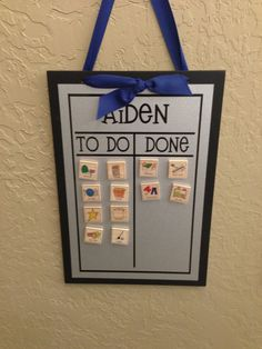 chore chart made simple and easy. Great for chores but also great for teaching toddlers sequencing and what to expect throughout the day.