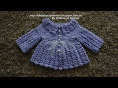 Crochet cardigan for baby size RN to 1 month Professor Simone Eleotério Crochet Baby Sweaters, Crochet Baby Cardigan, Crochet Baby Clothes, Newborn Crochet, Crochet Girls, Crochet For Kids, Easy Crochet, Knit Crochet, Crochet Things