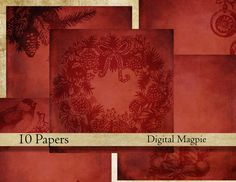 Shabby Christmas red digital paper pack instant download 12 x 12 vintage digital scrapbook background paper dark grungy by DigitalMagpie on Etsy