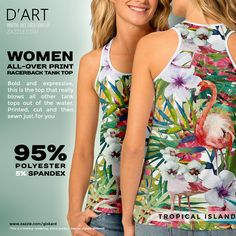"TROPICAL ISLAND...""A pletora of tropical related elements such as palm trees, flamingos, orchids, all in a painting style""... #tropical, #isle, #island, #jungle, #flamingo, #paradise, #orchids, #orchids #flowers #colorful #lavish #tanktop #womantanktop #forwomen #fashion #zazzle #zazzler #zazzleshop #digitalartcreations"