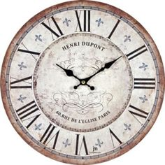 The classy Henri Duport Paris Wall Clock is made from wood and has a distressed finish for a vintage look and feel. It has large, easy-to-read numbers so you'll never be late.