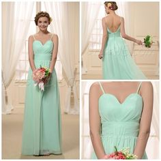 Wholesale Bridesmaid Dresses - Buy 2015 High Quality Mint Green Bridesmaid Dresses Chiffon Long Dress A-Line Spaghetti Floor Length Backless Prom Dress Ruffle Evening Gowns, $100.18 | DHgate