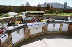 If you are looking for great ways to truly customize your fancy outdoor kitchen BBQ island, read on. Outdoor kitchens and built in BBQ grills can be both fun and functional. You are probably already well aware of the traditional equipment that you. Outdoor Kitchen Kits, Outdoor Cooking Area, Outdoor Kitchen Cabinets, Backyard Kitchen, Outdoor Kitchen Design, Outdoor Kitchens, Outdoor Grilling, Kitchen Ideas, Kitchen Cost
