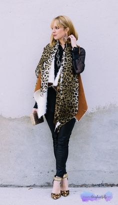 Blog Post: Leather, Leopard and a Shearling Vest www.theartoflivingbeautifully.net