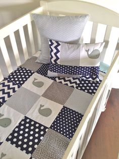 Moby Whale Baby boy Quilt grey by AlphabetMonkey on Etsy