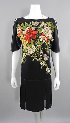 Antonio Marras Runway 1920's Flapper Style Embroidered Silk Chinoiserie Dress
