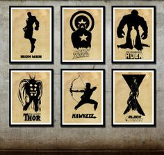Avengers Poster Set 6 posters Captain America Iron Man Hulk Thor Hawyeye Black Widow 11 x 17 Print on Etsy, $59.95