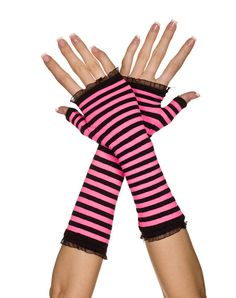 Striped Black and Hot Pink Arm Warmers