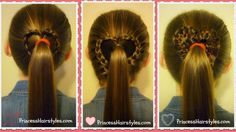 3 heart ponytails tutorial for valentine's day