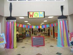 What an entrance! First Presbterian, Orangeburg, SC… Art Party Decorations, School Decorations, Maker Fun Factory Vbs, Art Bulletin Boards, Group Art Projects, Art Birthday, Paint Party, Art Club, Art Festival