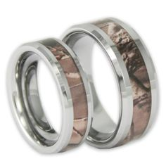 Popular ON SALE Couples Tree Camo Wedding Ring Set His and Hers Matching Camouflage Tungsten Bands with Inside Engraving
