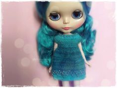 BLYTHE Dress, Pure Neemo, Licca, Takara, Pullip, Dal - Knitted Multicolor Turquoise Dress With Beads #30 by MPdollWorld on Etsy