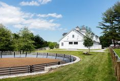 arena with stoneBehind the barn towards the back of the property is a lunge ring supplied by Classic Equine. Sequoia Contracting fabricated custom galvanized panels to minimize the spacing between the bars for additional safety for the horses. Dream Stables, Dream Barn, Horse Stables, Horse Farms, Dressage, Round Pen, Future Farms, Dream Properties, Beautiful Farm