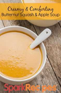 Creamy Butternut Squash & Apple Soup. Super healthy and comforting recipe! | via @SparkPeople #soup #healthy #wellness #diet #weightloss #fall #squash #apples