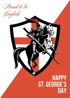 Proud to Be English Happy St George Day Retro Poster Art Print by patrimonio - X-Small Learning English Is Fun, English Fun, Happy St George's Day, Patron Saint Of England, Great Britain Flag, Saint George And The Dragon, St Georges Day, Patron Saints, The St