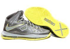 Nike LeBron X   Sport Grey   Electric Yellow
