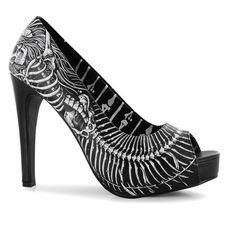Iron Fist Womens Bone Platform High Heels Shoes Print Ladies Pumps Open Toe .. £45 with p&p .. (2016/08/28)