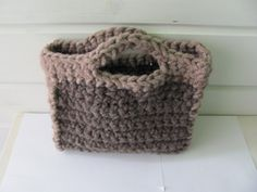 Gray brown knitted bagWool by AnnaLela on Etsy, $57.00