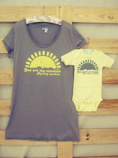 Mommy and Me Shirt Set: You Are My Sunshine (You Choose Size). $20.00, via Etsy.