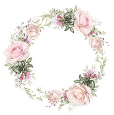 Ściana Wreath Watercolor, Watercolor Flowers, Watercolor Art, Flower Backgrounds, Wallpaper Backgrounds, Iphone Wallpaper, Flower Frame, Flower Art, Printable Pictures