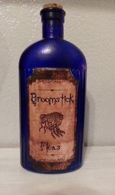 Unique BLUE Halloween BROOMSTICK FLEAS POTION GLASS BOTTLE PROPS HOME DECOR NEW #Unbranded