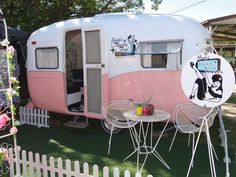Pink and White Vintage Caravan - Vintage Caravan Style Book by lisa mora. This book is amazing and I love the pastel vintage caravans that have had a surge in popularity recently!