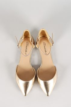 Breckelle Metallic Leatherette Pointy Toe Ankle Strap Flat