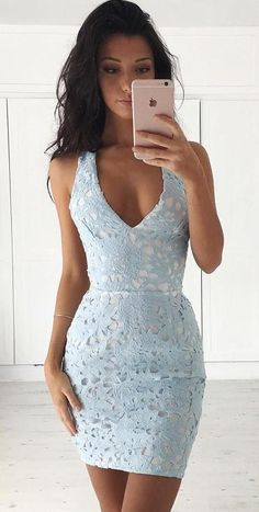 Sheath Dresses for Freshman Homecoming, Short Sexy Prom Party Dresses, Short Light Blue Lace Homecoming Dresses Lace Homecoming Dresses, Hoco Dresses, Lace Evening Dresses, Pretty Dresses, Sexy Dresses, Beautiful Dresses, Fashion Dresses, Fitted Dresses, Women's Fashion