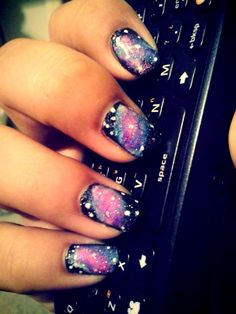 Galaxy Nails I Did On My Best Friend. Quite Simple To Do. All You Need Is Makeup Sponges, Black, White, Pink, Purple, Blue, & Silver Sparkle Nail Polish.