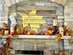 Fall Mantel with pallet wood sign by Serendipity Refined